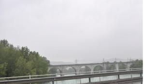 ponte ferroviario sull'Isonzo a Gorizia audacemente conquistato dopo 6 battaglie dal tenente Balelli il 6 agosto 1916 e rappresentato nella sala del convegno a Milano