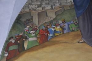 Particolare della Via Crucis all'interno della chiesetta sul Monte Lussari - opera di Tone Kralj