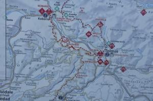 Itineriario delle truppe Austro-ungariche e Tedesche partite da Tolmino per la presa di Caporetto (Kobarid)